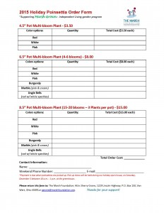 2015 Holiday Poinsettia Order Form
